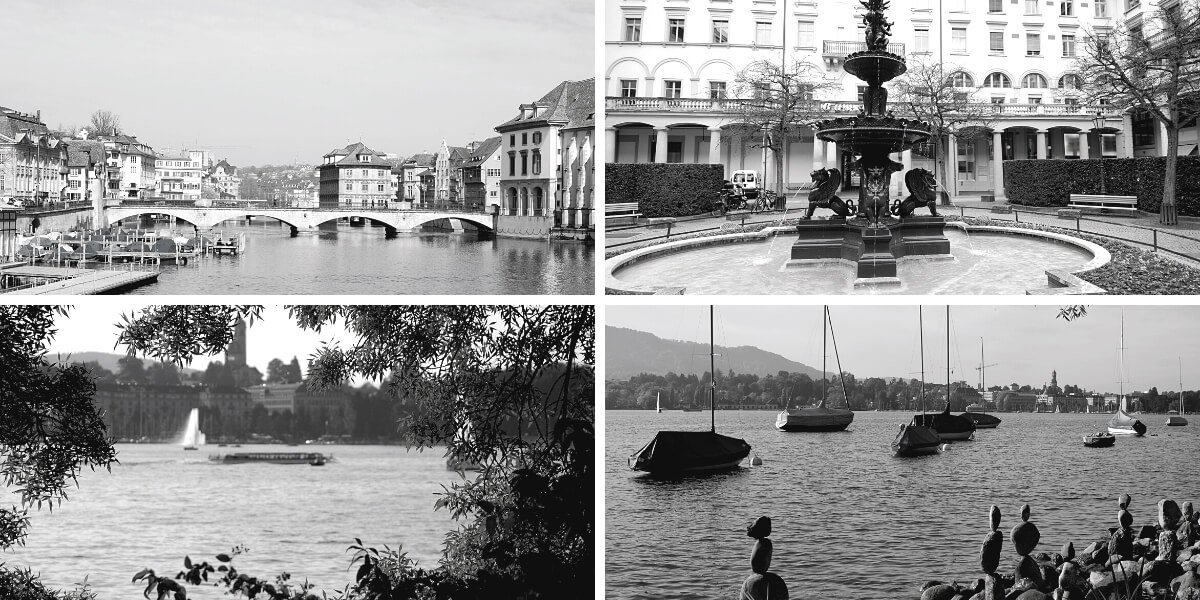 Zurich City of Water - Lake Limmat and Fountain